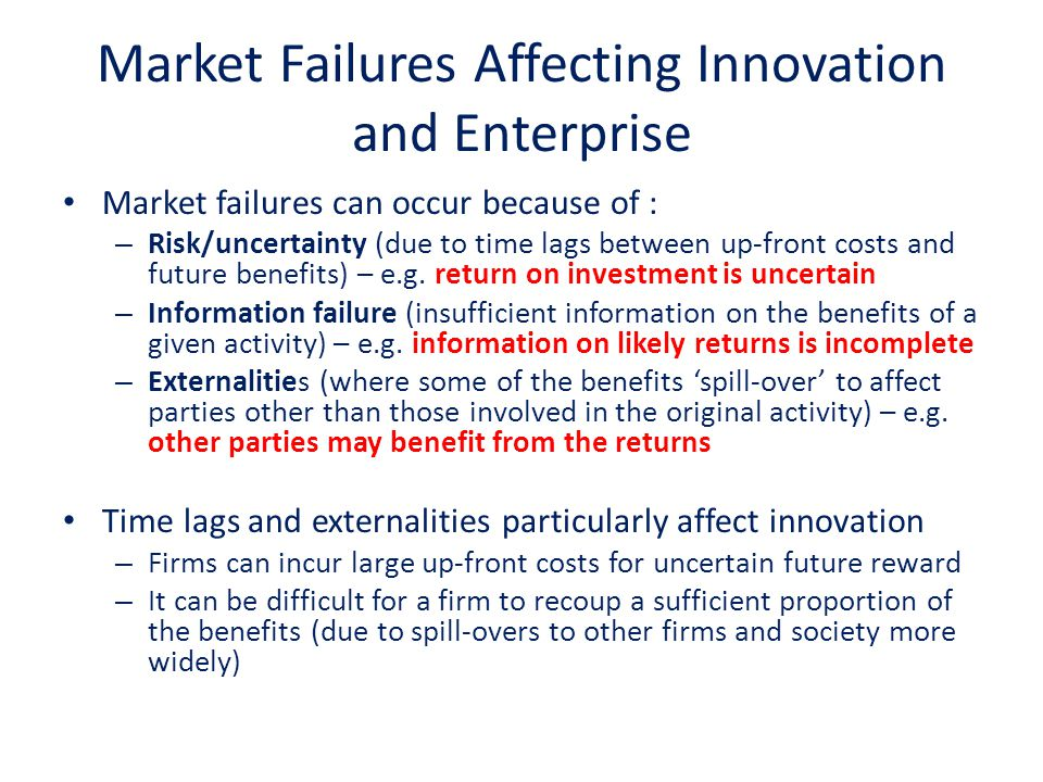 Market Failures Affecting Innovation and Enterprise