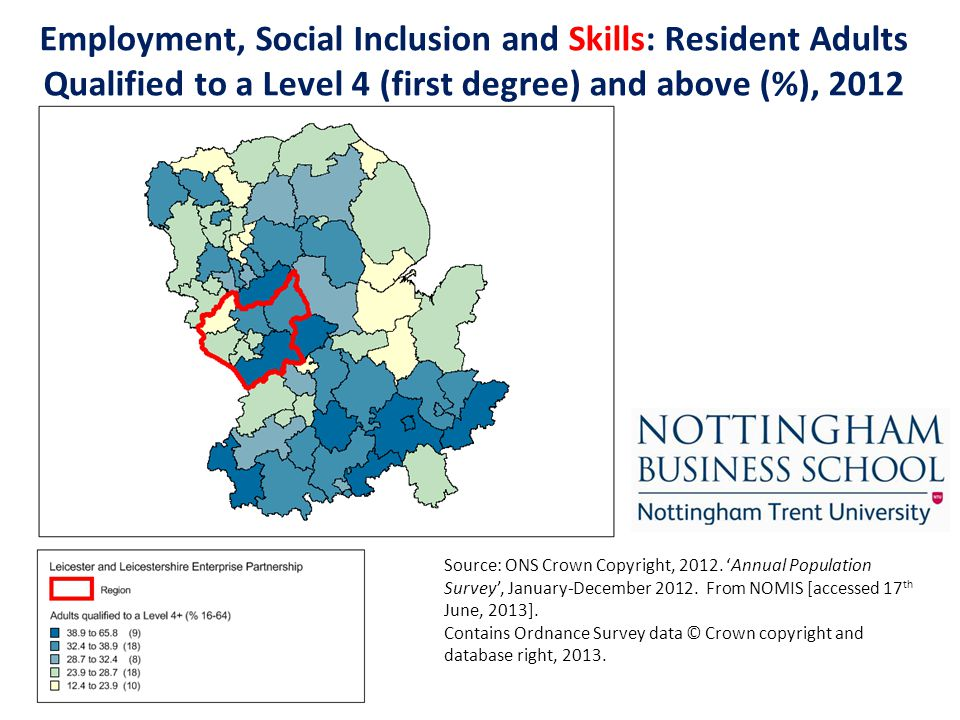 Employment, Social Inclusion and Skills: Resident Adults Qualified to a Level 4 (first degree) and above (%), 2012