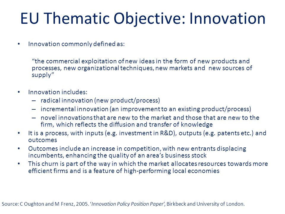 EU Thematic Objective: Innovation