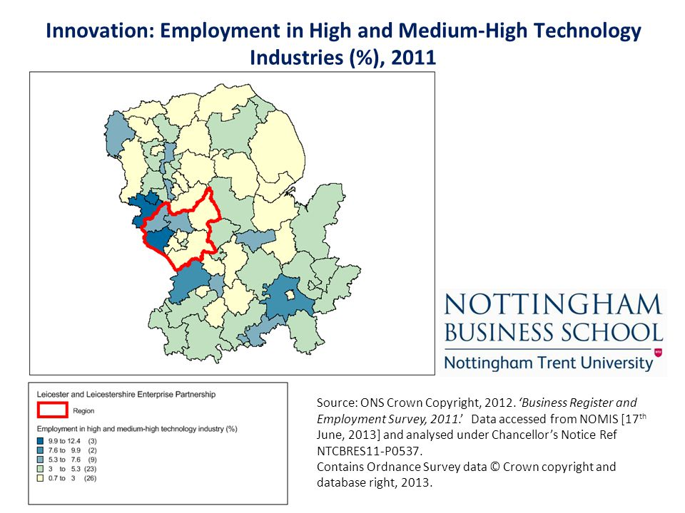 Innovation: Employment in High and Medium-High Technology Industries (%), 2011