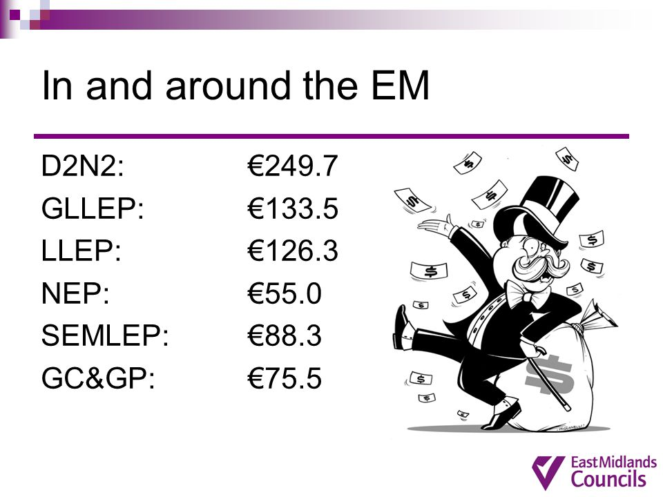 In and around the EM D2N2: €249.7 GLLEP: €133.5 LLEP: €126.3