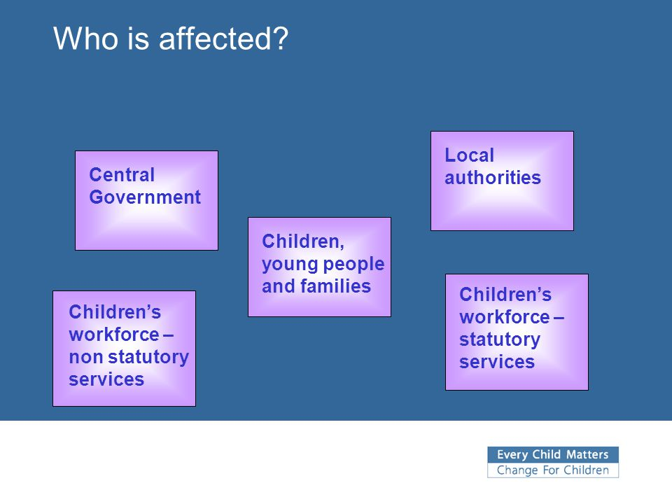 Who is affected Local authorities Central Government
