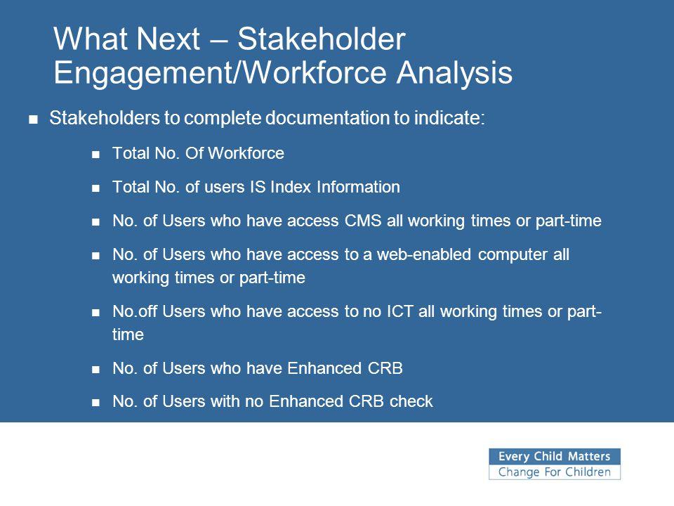 What Next – Stakeholder Engagement/Workforce Analysis