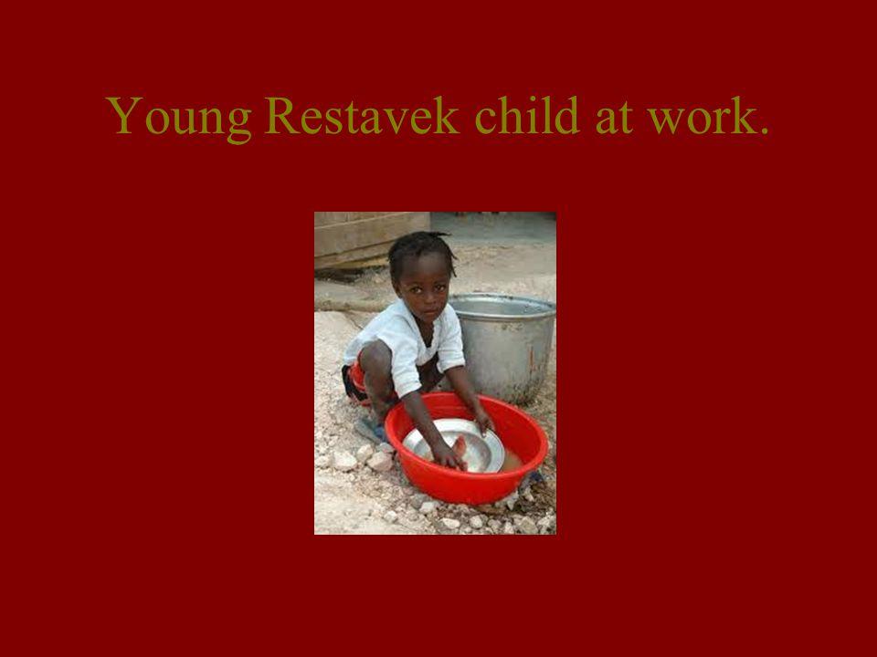 Young Restavek child at work.