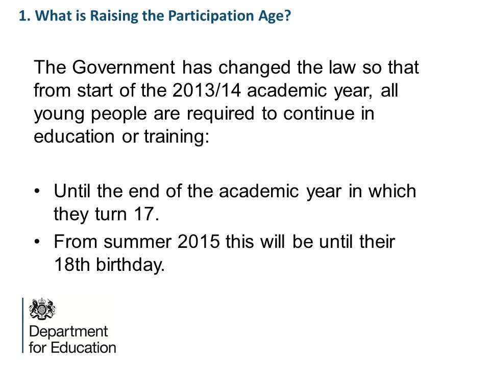 1. What is Raising the Participation Age