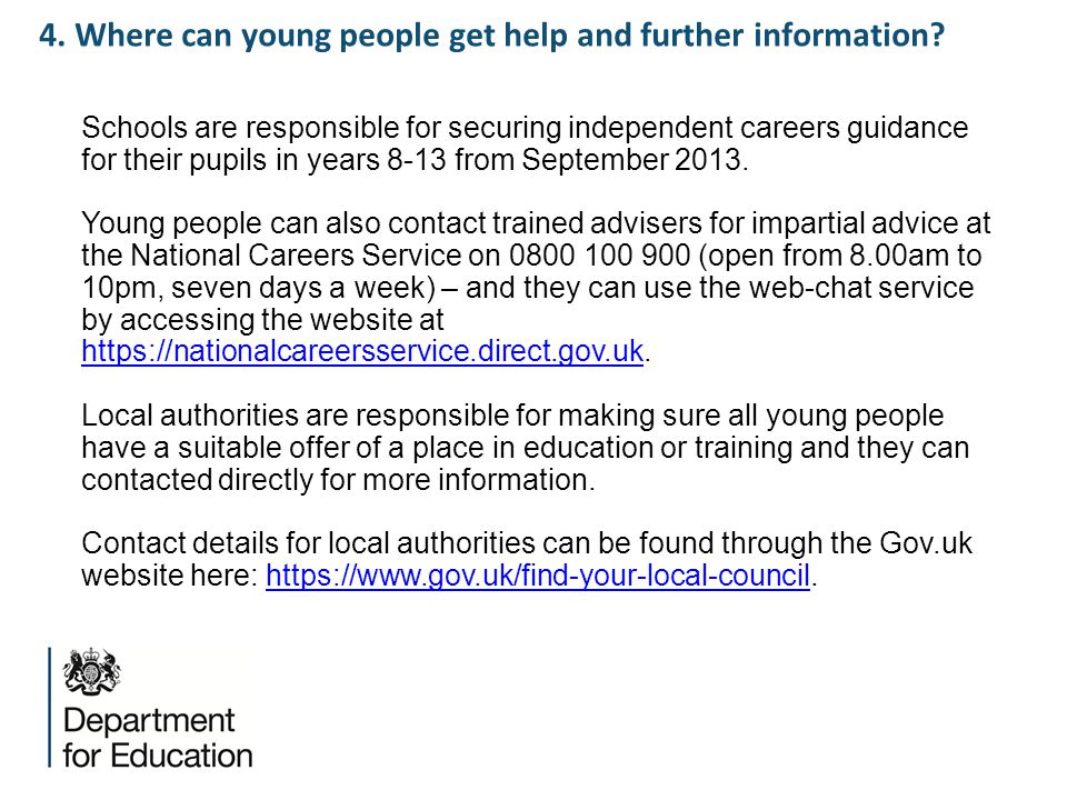 4. Where can young people get help and further information