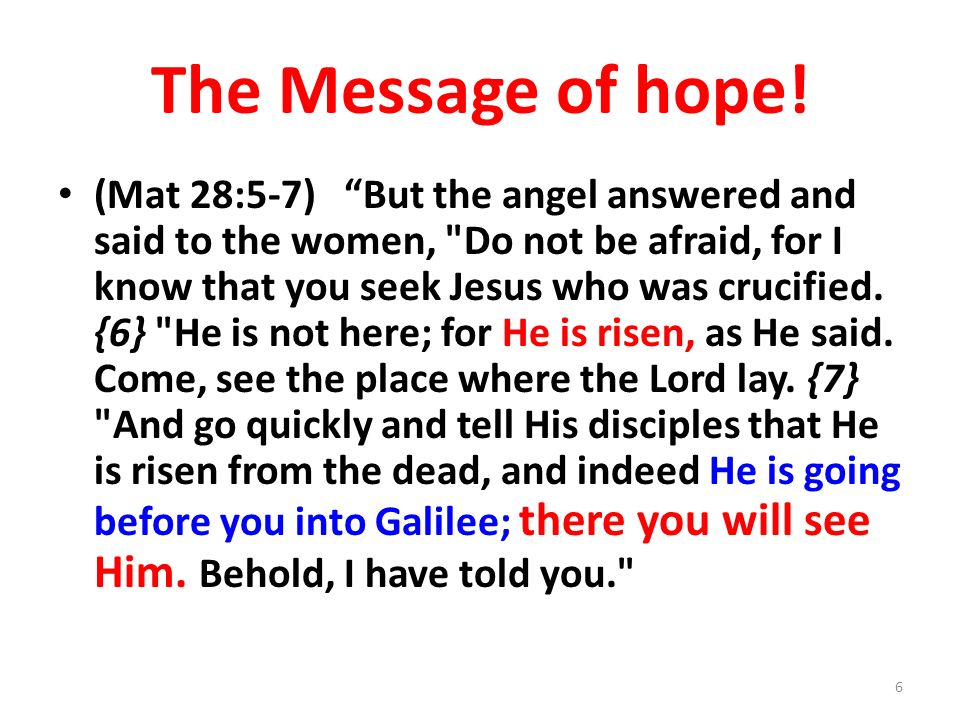 The Message of hope!