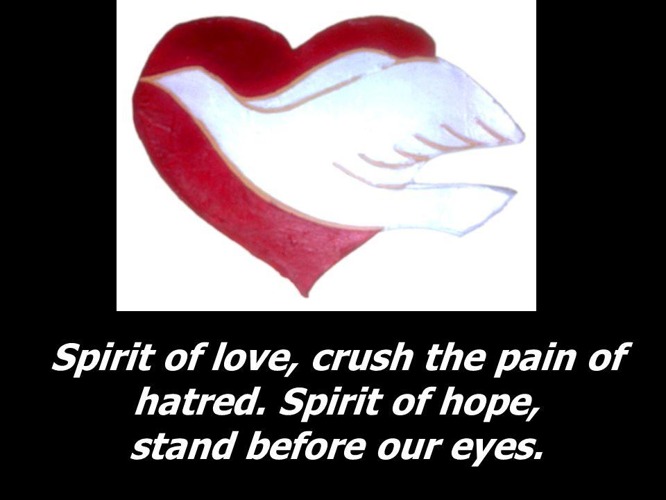 Spirit of love, crush the pain of hatred