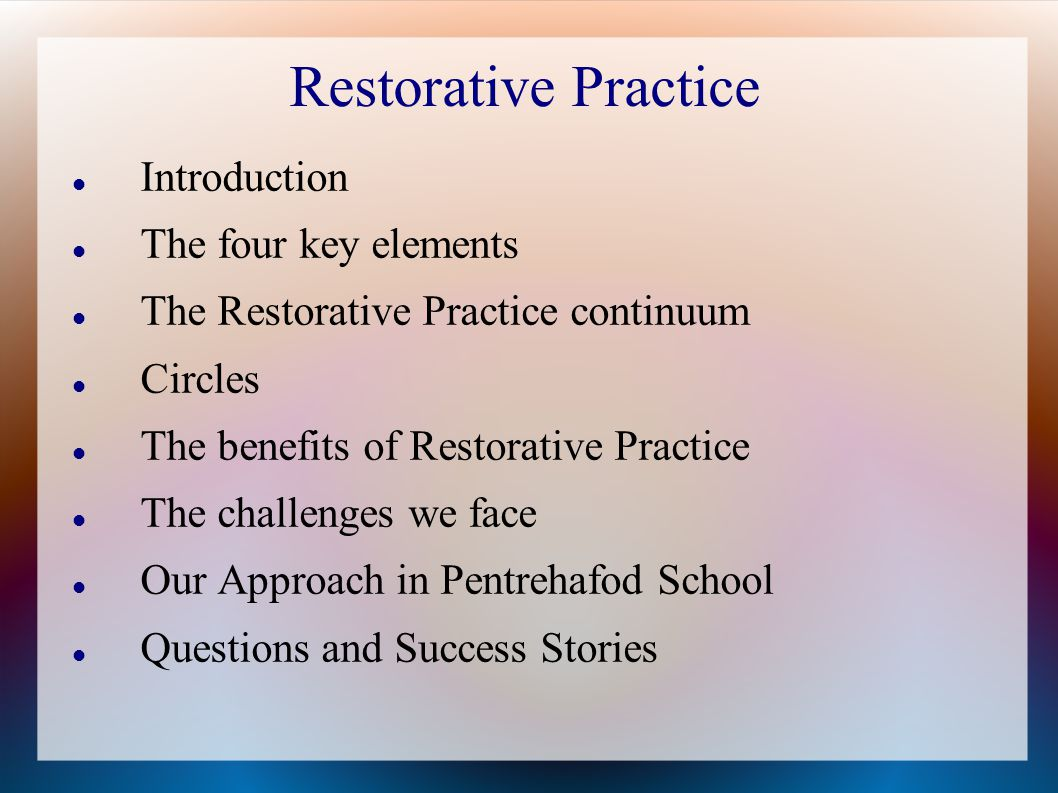 Why Restorative Practices Benefit All >> Restorative Practice Introduction The Four Key Elements Ppt Video