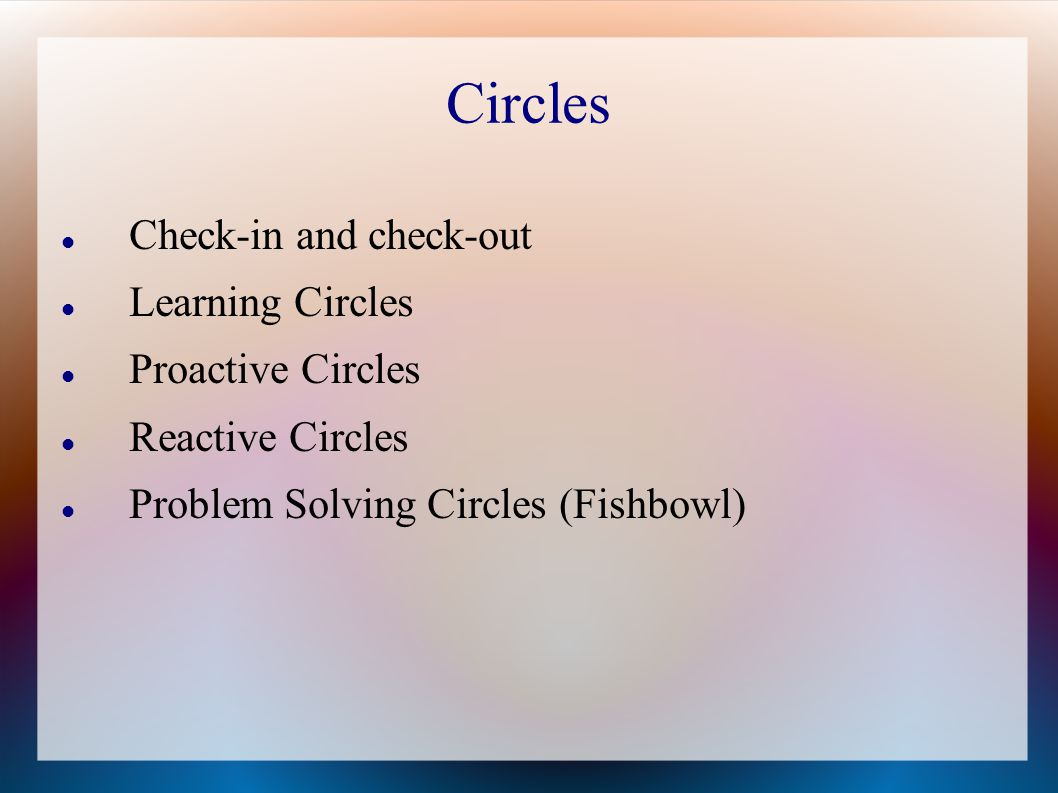 Circles Check-in and check-out Learning Circles Proactive Circles