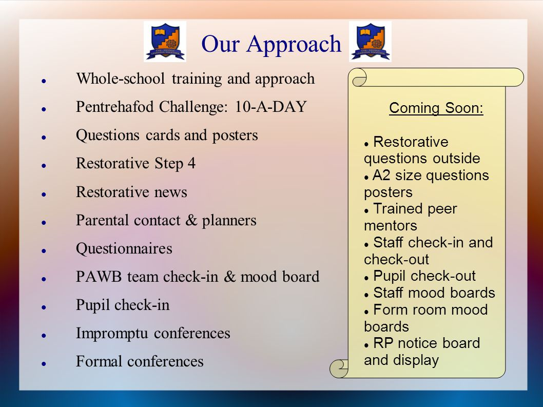Our Approach Whole-school training and approach