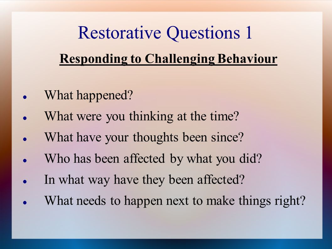Restorative Practice Introduction The Four Key Elements