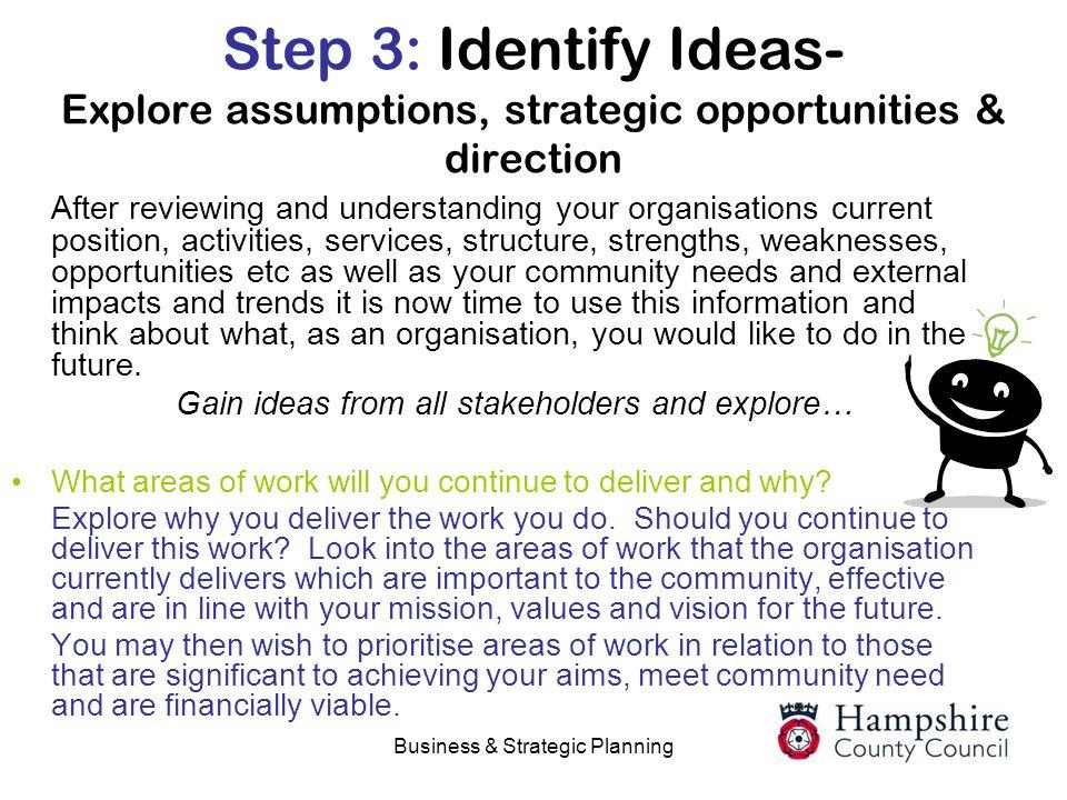 Step 3: Identify Ideas- Explore assumptions, strategic opportunities & direction