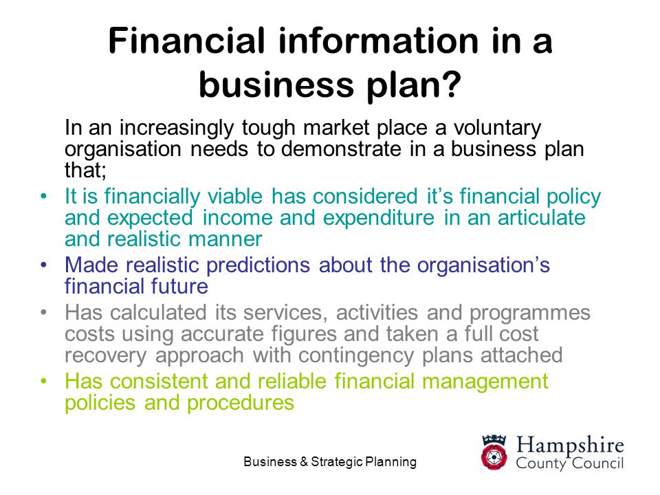 Financial information in a business plan