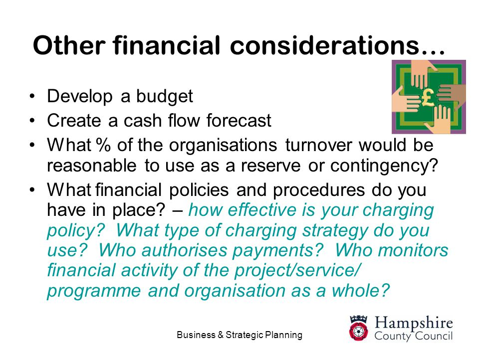 Other financial considerations…