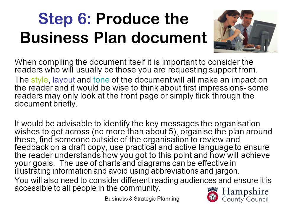 Step 6: Produce the Business Plan document