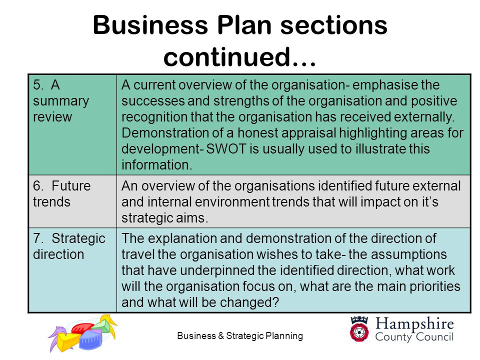 Business Plan sections continued…