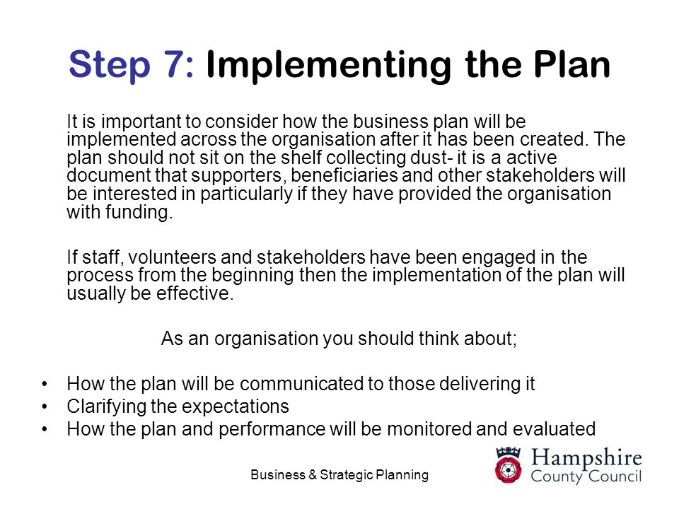 Step 7: Implementing the Plan