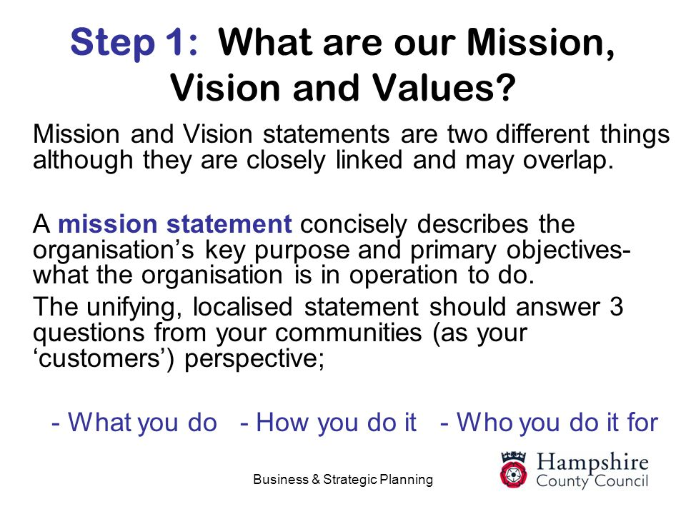 Step 1: What are our Mission, Vision and Values
