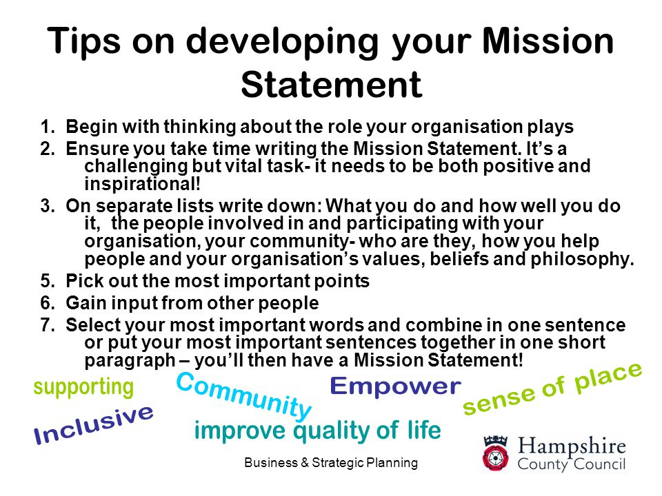 Tips on developing your Mission Statement