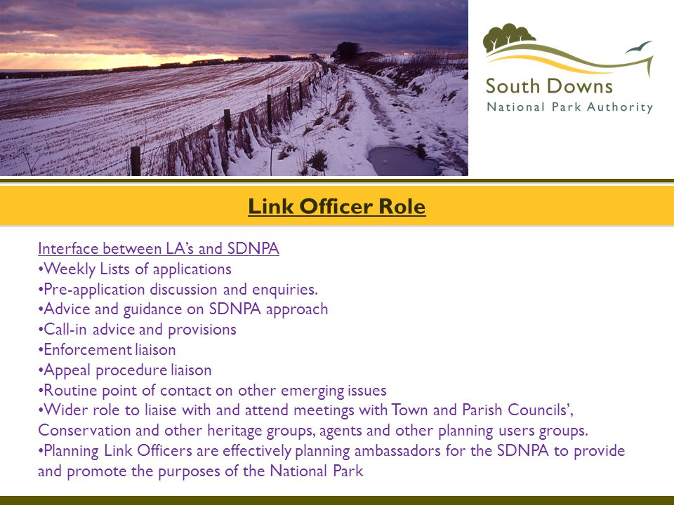Link Officer Role Interface between LA's and SDNPA