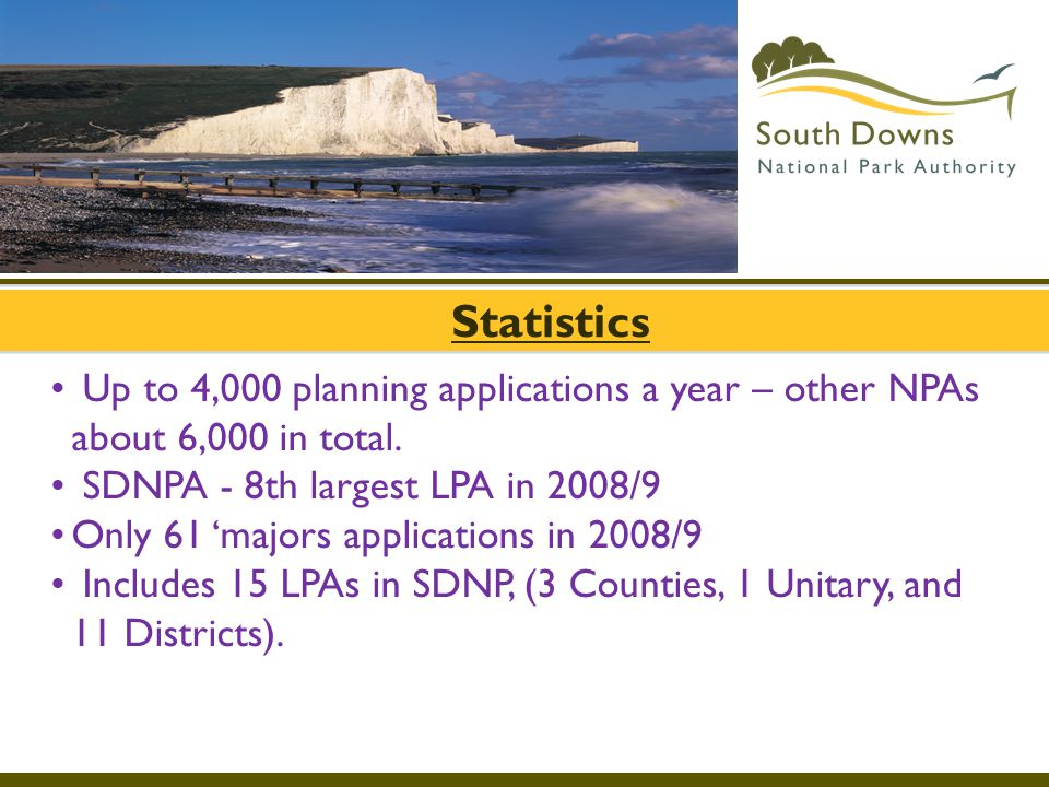 Statistics Up to 4,000 planning applications a year – other NPAs about 6,000 in total. SDNPA - 8th largest LPA in 2008/9.