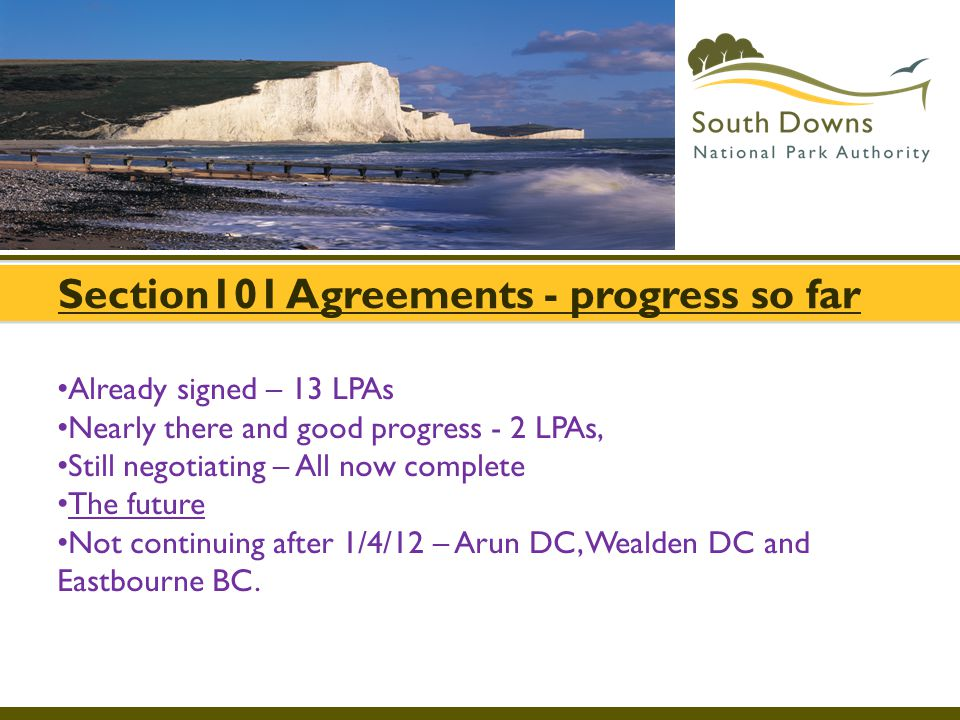 Section101 Agreements - progress so far