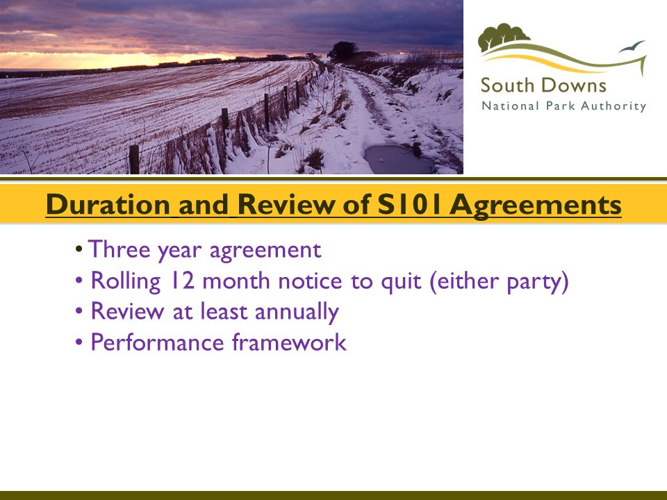Duration and Review of S101 Agreements