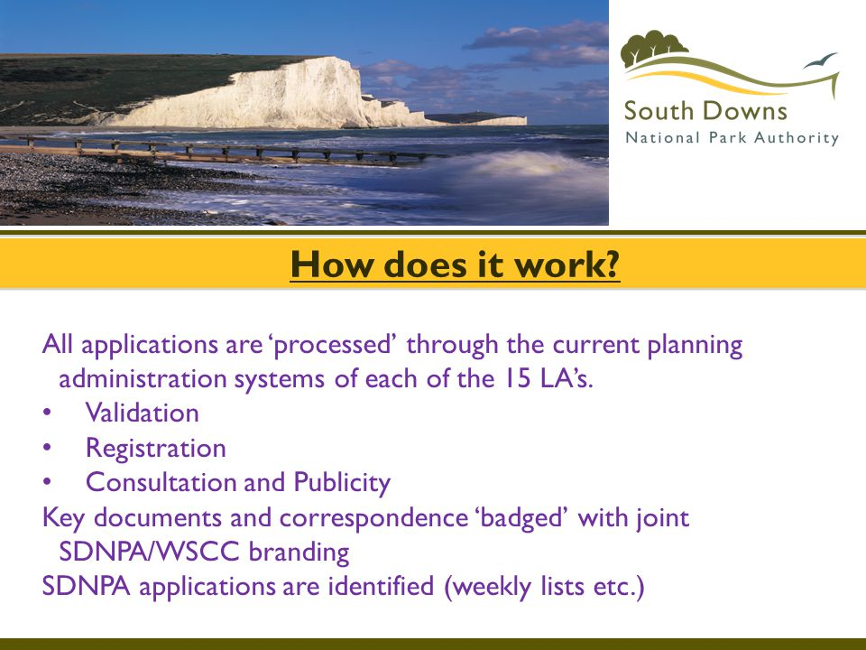 How does it work All applications are 'processed' through the current planning administration systems of each of the 15 LA's.