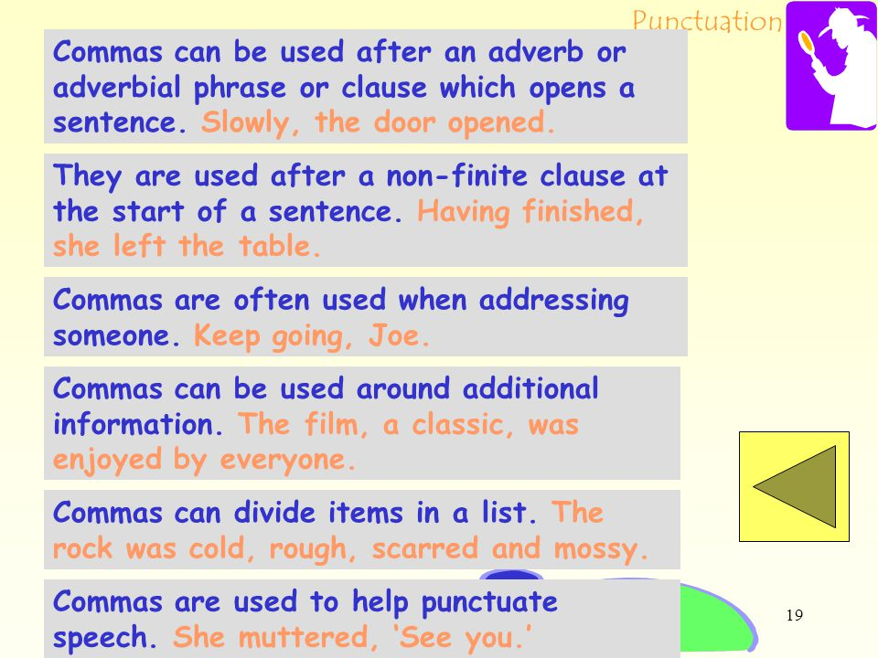 Commas can be used after an adverb or adverbial phrase or clause which opens a sentence. Slowly, the door opened.