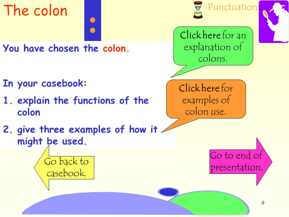 : The colon Click here for an explanation of colons.