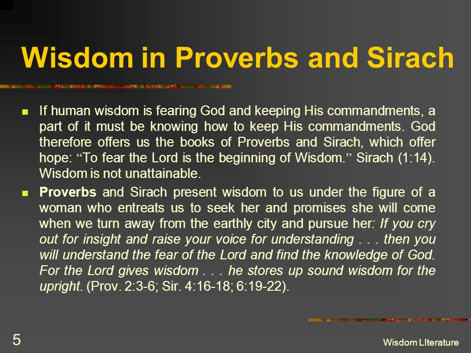 Wisdom in Proverbs and Sirach