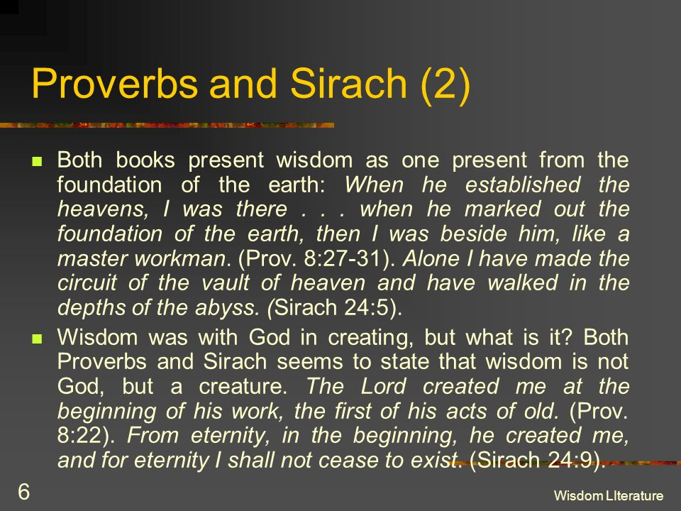 Proverbs and Sirach (2)