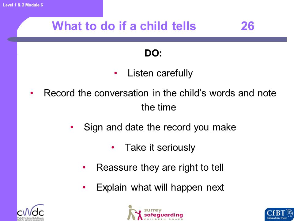 What to do if a child tells 27