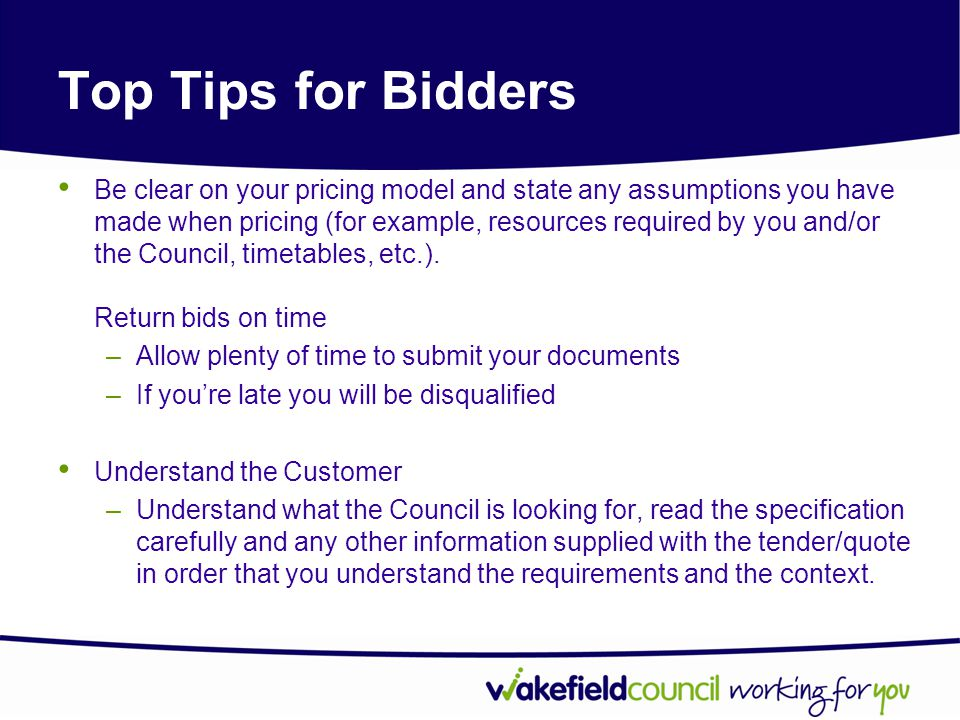 Top Tips for Bidders