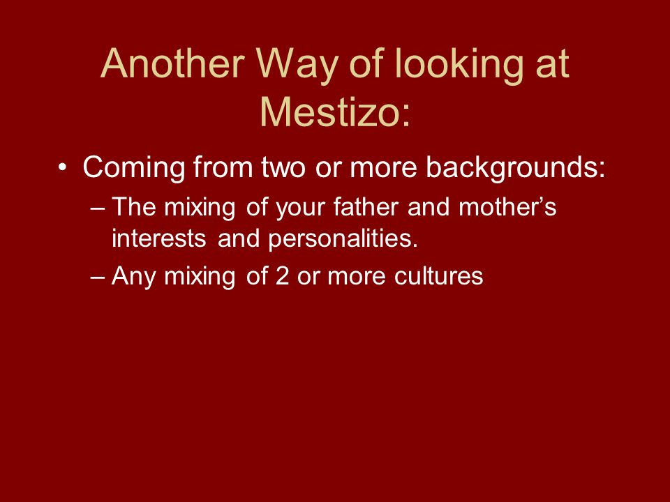 Another Way of looking at Mestizo: