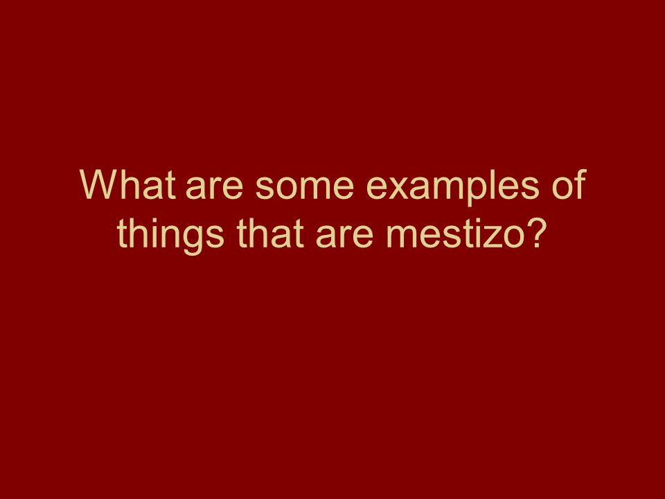 What are some examples of things that are mestizo