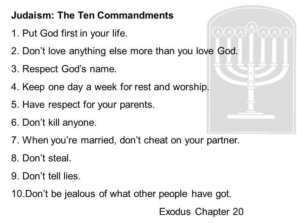 Judaism: The Ten Commandments