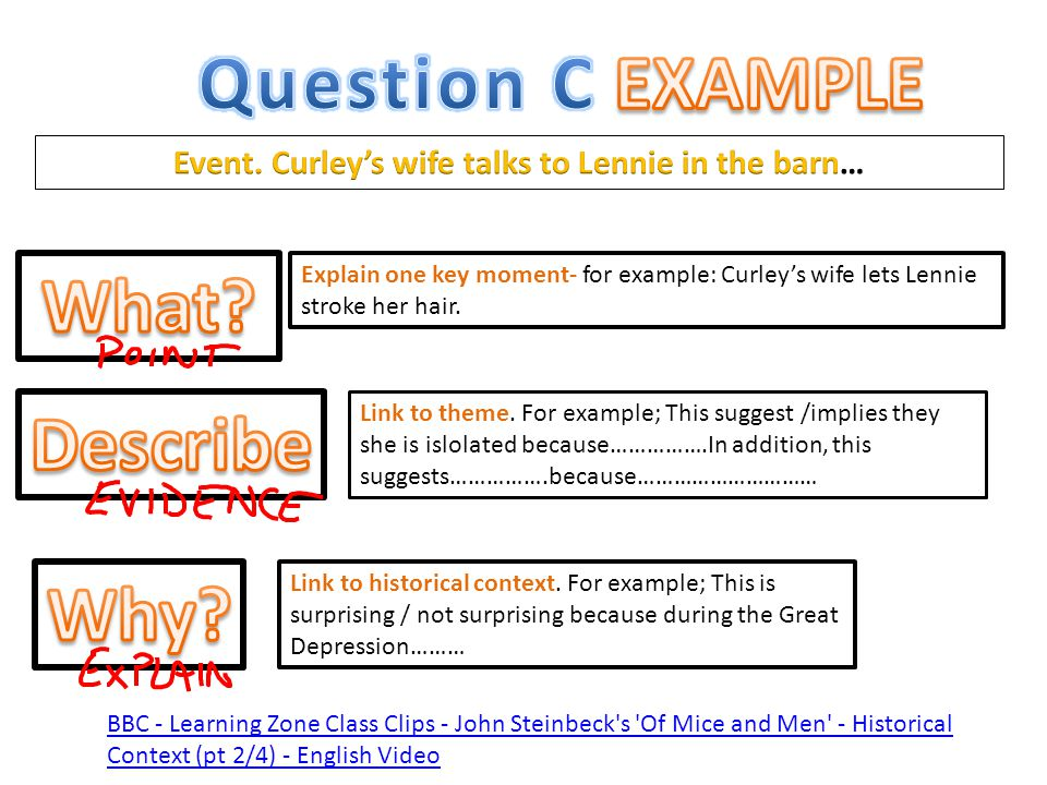 Event. Curley's wife talks to Lennie in the barn…