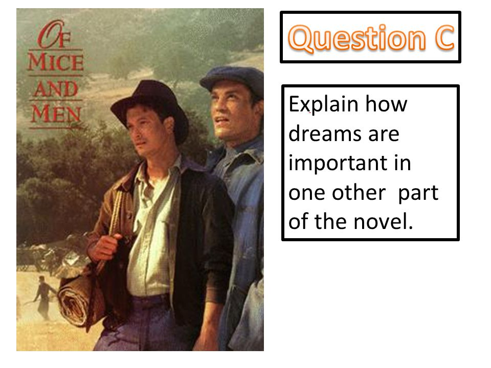 Question C Explain how dreams are important in one other part of the novel.