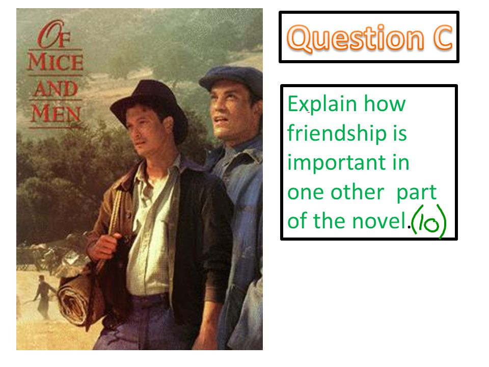 Question C Explain how friendship is important in one other part of the novel.