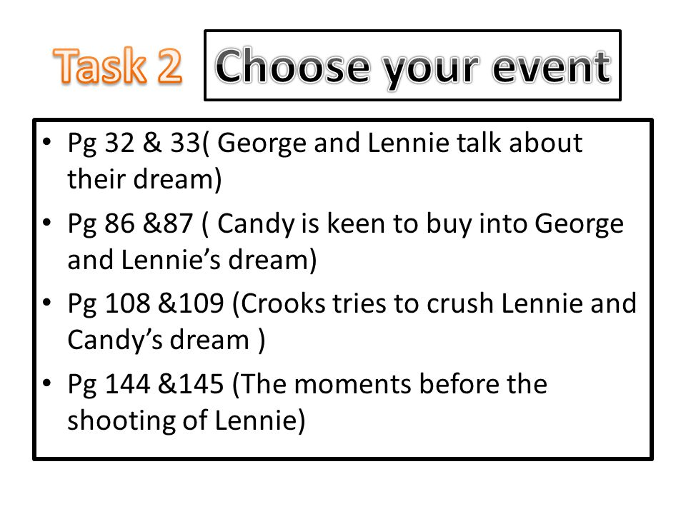 Task 2 Choose your event. Pg 32 & 33( George and Lennie talk about their dream) Pg 86 &87 ( Candy is keen to buy into George and Lennie's dream)