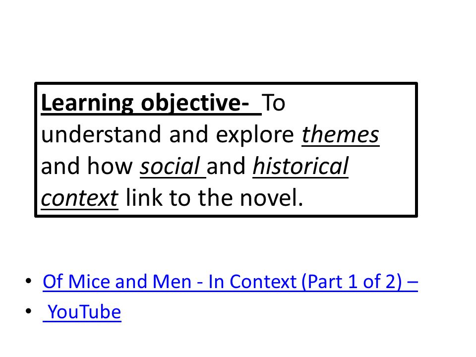Learning objective- To understand and explore themes and how social and historical context link to the novel.