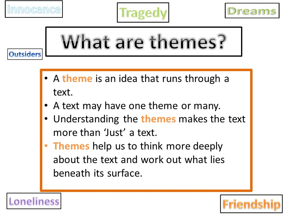 What are themes A theme is an idea that runs through a text.