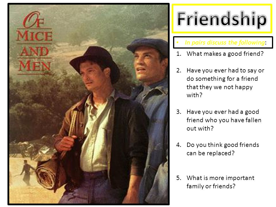 Friendship In pairs discuss the following: What makes a good friend