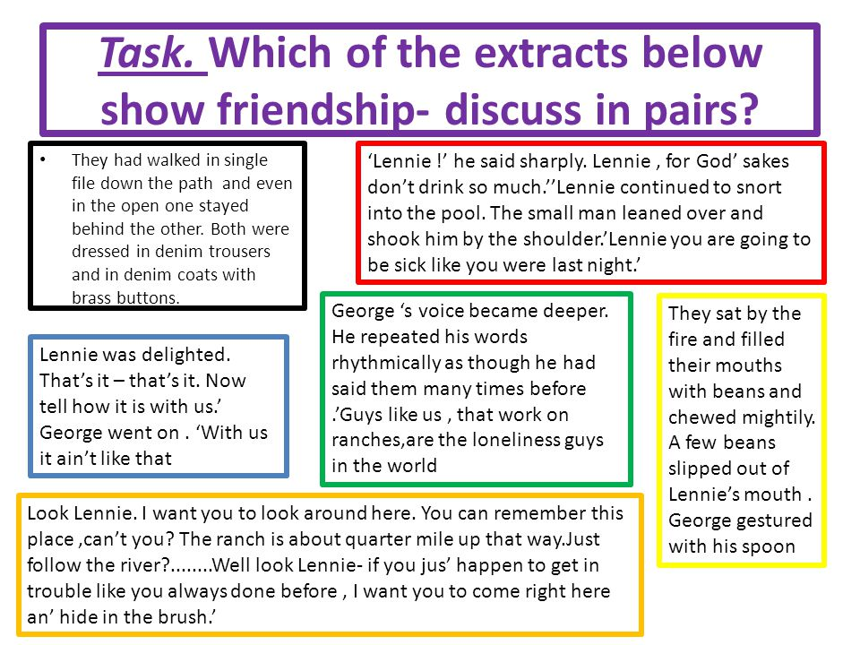 Task. Which of the extracts below show friendship- discuss in pairs
