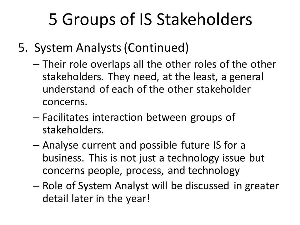 5 Groups of IS Stakeholders
