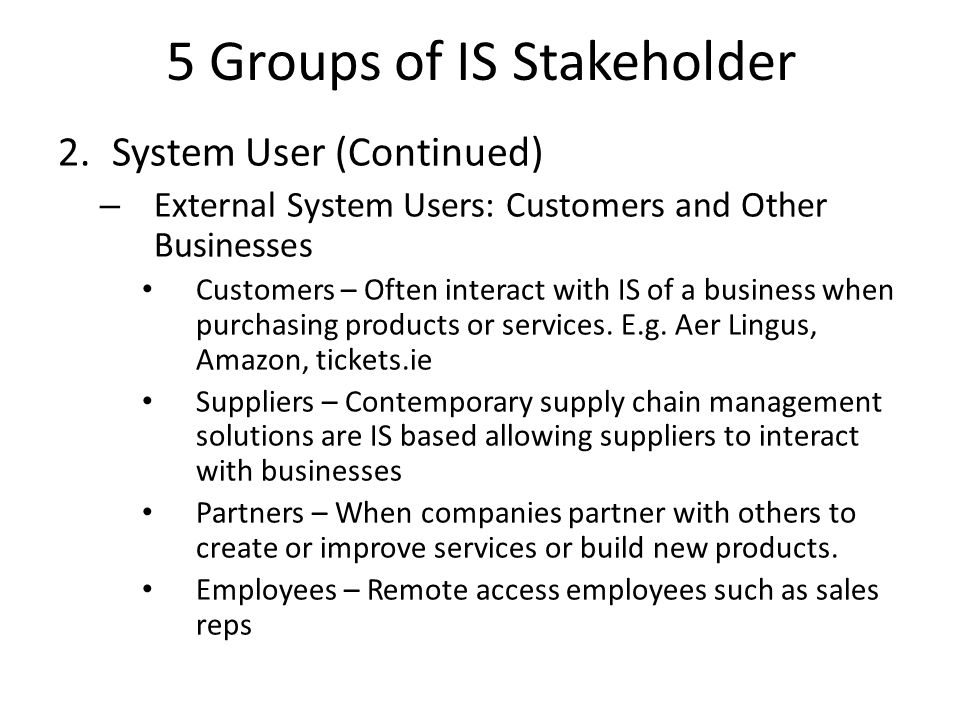 5 Groups of IS Stakeholder