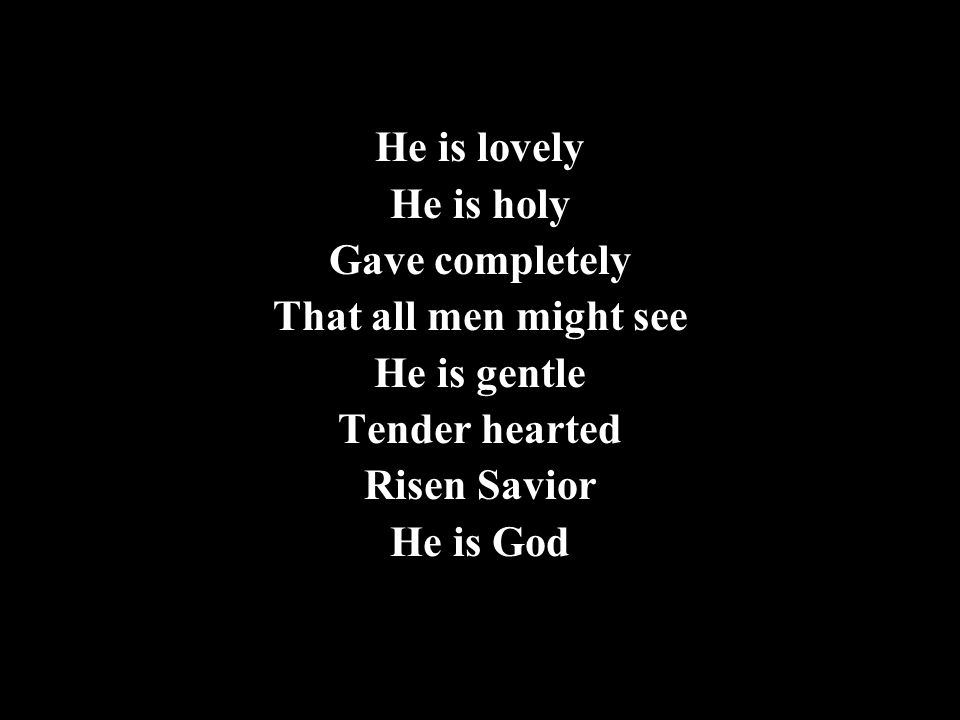 He is lovely He is holy. Gave completely. That all men might see. He is gentle. Tender hearted.