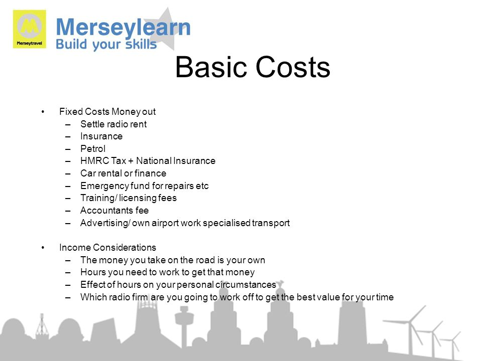 Basic Costs Fixed Costs Money out Settle radio rent Insurance Petrol